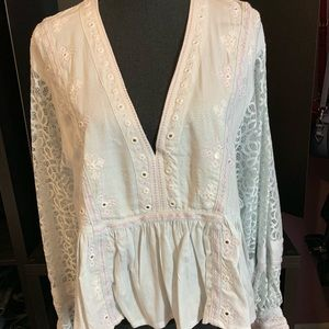 Free People Embroidered Top W/ Lace Sleeves -Large